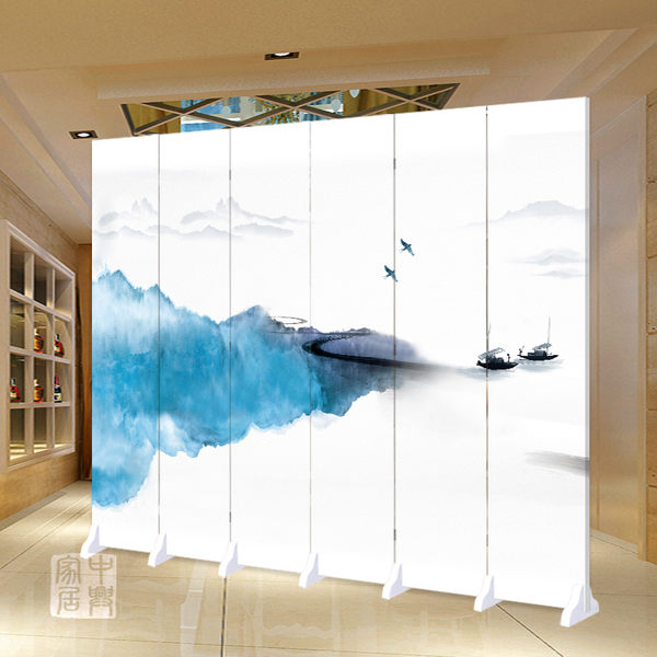 中興現代中式屏風隔斷時尚簡約客廳移動折疊玄關臥室防水布藝折屏igo 【Pink Q】