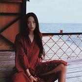 日本和服睡衣女改良中國風日式情侶浴衣男日系開衫長袖連衣裙秋季【小酒窩服飾】