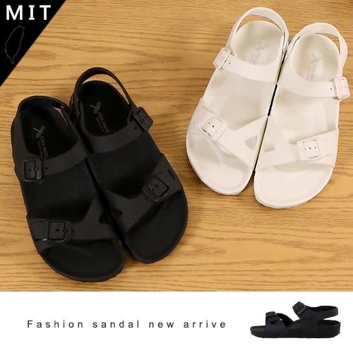 女款 雙扣帶 後跟調整鈕扣 一體成型PVC 超輕量 防水防滑 防水涼鞋 平底涼鞋 MIT製造 59鞋廊