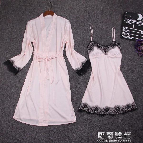春吊帶性感睡裙睡袍兩件套胸墊冰模擬絲綢睡衣睫毛蕾絲家居服 可可鞋櫃