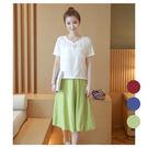 韓版顯瘦兩件式裙套裝/洋裝/棉麻/大尺碼