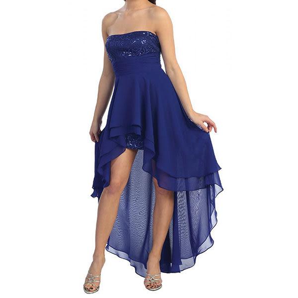 『摩達客』美國進口Landmark露肩高低燕尾浪漫紗裙擺派對小禮服/洋裝(含禮盒/附絲巾)(1831395016)