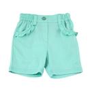 【愛的世界】純棉半鬆緊帶荷葉邊口袋短褲-綠/1歲-台灣製-  ---春夏下著 夏出清