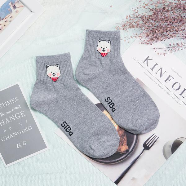 現貨✶正韓直送【K0282】韓國襪子 領巾柴犬中筒襪 韓妞必備 百搭款 素色襪 免運 阿華有事嗎