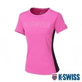 K-SWISS Mesh Logo Print Tee 排汗T恤-女-桃紅