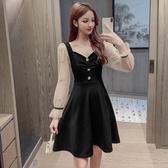 洋裝 韓系赫本風小黑裙長袖連身裙 小禮服 花漾小姐【預購】