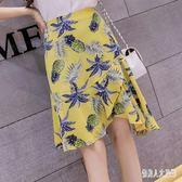 夏季2019新款韓版半身裙女高腰荷葉邊魚尾裙碎花短裙子 yu2314『俏美人大尺碼』