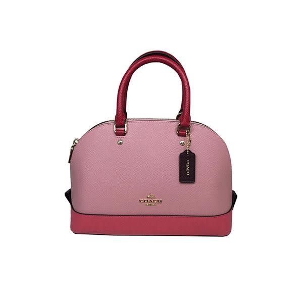 COACH 57499 女包手提斜跨包單肩手提貝殼包時尚新款宴會包粉色