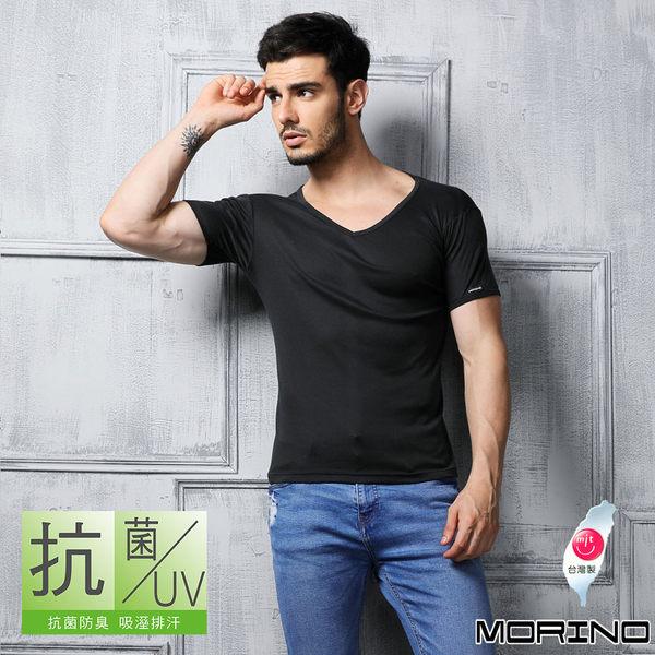 《MORINO》機能休閒抗菌防臭速乾短袖V領衫-黑色