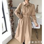 襯衫洋裝 黑色襯衫連衣裙女2021年秋季新款韓版長袖收腰顯瘦中長款氣質裙子 歐歐