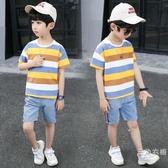 套裝男童夏裝套裝2019新品兒童條紋短袖兩件式套裝中大童時尚帥氣韓版潮衣