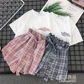 闊腿褲休閒運動套裝女夏裝新款時尚韓版學生寬鬆短褲兩件套潮 【原本良品】