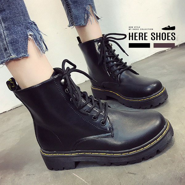 [Here Shoes]歐美風7孔綁帶馬汀靴短靴4CM粗中跟─KDA118-1