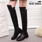 [Here Shoes] 跟高3.5cm 側拉鍊皮革鞋面 特殊剪裁前長後短 高筒過膝靴 膝上靴 長靴-KSK5