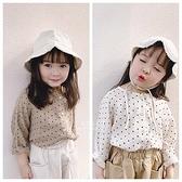 韓系小點點樣式長袖鈕扣上衣 童裝 T-shirt