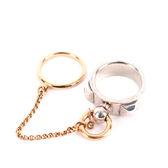 【HERMES】小鑽+925純銀+玫瑰金AU750鏈帶雙環戒指 HE43000001