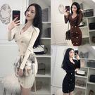 夜店洋裝春時尚夜店女裝氣質修身長袖雙排扣西裝領針織包臀洋裝 法布蕾輕時尚
