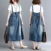 牛仔背帶裙女2020新款夏裝中長款韓版寬鬆大碼顯瘦a字吊帶裙連身裙 LR23174『麗人雅苑』