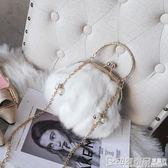 chic毛毛包女冬新款韓版毛絨女包時尚手提百搭鏈條單肩斜挎包 印象家品旗艦店