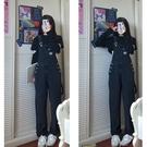 背帶褲 學生長褲韓風chic 高腰露臍開口T恤上衣 牛仔背帶褲女 伊莎公主