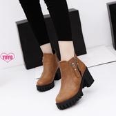 YoYo 短靴 雪靴馬丁靴 英倫 休閑 高跟 粗跟 純色 短筒靴子