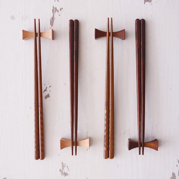 時尚可愛餐具 印尼鐵木創意嵌木花紋筷 日式筷子 木筷4 (三入)