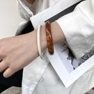 手鐲 韓國ins博主同款小眾復古醋酸手環冷淡風琥珀紋亞克力百搭手鐲 晶彩