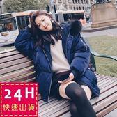 梨卡★現貨 - 韓國甜美大毛領絲絨寬鬆保暖禦寒仿羽絨鋪羊羔毛連帽防風風衣外套大衣A535
