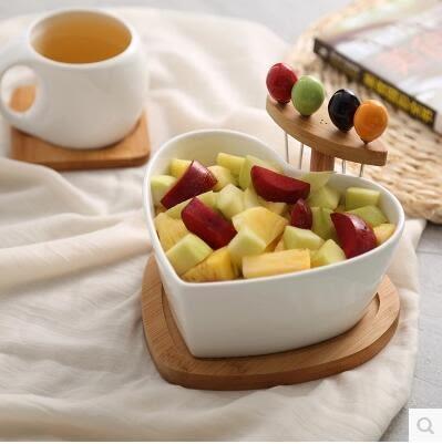 乾果盤陶瓷沙拉碗帶果叉家用水果盤碗盆