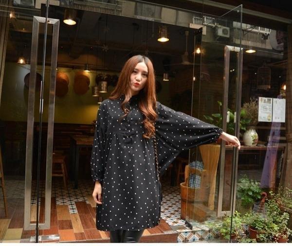 漂亮小媽咪 韓系洋裝 【D9888】 長袖 哺乳衣 點點 立領 雪紡洋裝 長版襯衫 襯衫洋裝 孕婦裝