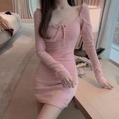 長袖洋裝 冬季新款性感方領系帶修身長袖打底裙氣質顯瘦包臀裙