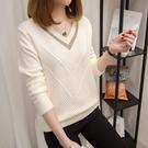 VK精品服飾 韓國風時尚拚色領針織簡約長...