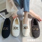 毛毛鞋女鞋外穿年新款秋冬款潮鞋一腳蹬鞋子超火加絨豆豆棉鞋 米希美衣