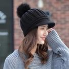 鴨舌帽子女秋冬季韓版加絨針織毛線帽冬天大球球保暖護耳帽女百搭 小山好物