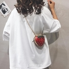 夏季迷你小包包女正韓個性可愛草莓包百搭錬條單肩斜背包東京衣秀