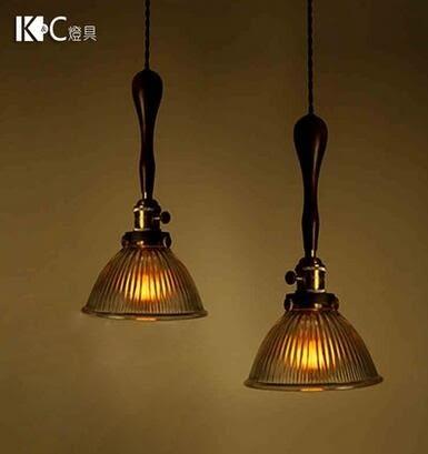 設計師美術精品館KC燈具 全銅單頭吊燈白色玻璃燈罩復古燈實木鐵藝老東西工業風燈