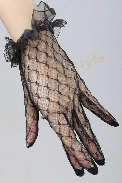情趣配件 蕾絲手套 (黑色)性感透明蕾絲短手套(可搭配新娘-女警-女僕-貓女等套裝)『歡慶雙J』