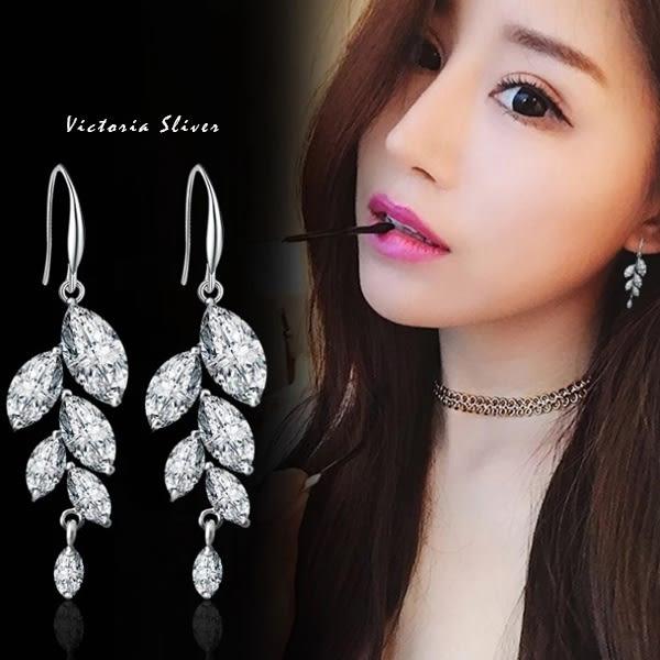 925純銀針  韓國優雅氣質 閃耀水感光澤水鑽 樹葉耳環-維多利亞1812116