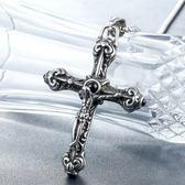 《 QBOX 》FASHION 飾品【CHE339】精緻個性耶穌復古十字架鑄造鈦鋼墬子項鍊