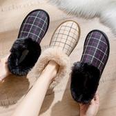 網紅雪地靴女2019新款韓版時尚圓頭格子加絨厚底棉鞋百搭保暖短靴 暖心生活館