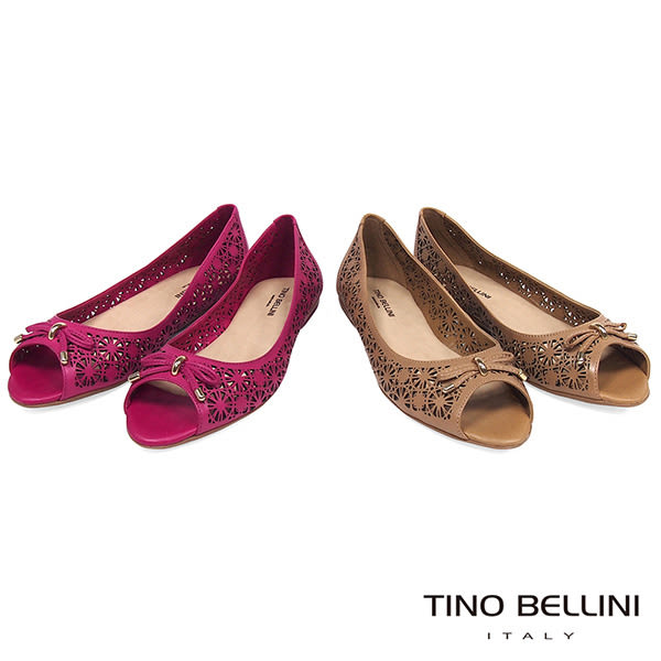 Tino Bellini 巴西進口精雕圖騰魚口娃娃鞋_ 棕 A83045 歐洲進口款