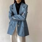 西裝外套 格子西裝外套女新款秋冬正韓英倫風上衣藍色西服黑色-Ballet朵朵