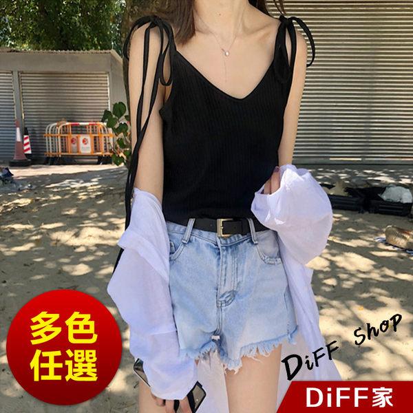 【DIFF】韓版素色系心機綁繩V領針織背心 小可愛 短袖上衣 短袖t恤 女裝 衣服【V81】