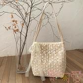 包包草編蕾絲單肩包手提包大容量水桶購物袋【聚可愛】