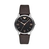 【Emporio Armani】美式經典優雅紳士簡約腕錶-棕銀款/AR11153/台灣總代理公司貨享兩年保固