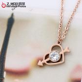 [Z-MO鈦鋼屋]一箭穿心女性項鍊/單顆鑽閃耀設計/完美真愛/單條價【ASS050】