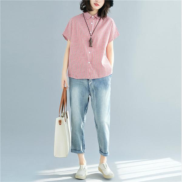 上衣 - A3964 紅白小細格襯衫【F碼】MEET中大尺碼