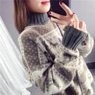 暗色系聖誕小鹿慵懶寬鬆毛衣女2019秋冬溫柔風條紋軟糯提花針織衫