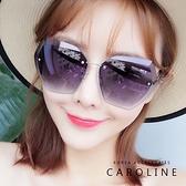 《Caroline》多色可選年度最新網紅款無邊框海洋漸層顯小臉抗UV多邊型太陽眼鏡 71832