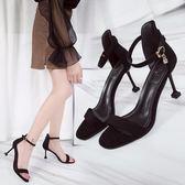簡約氣質高跟鞋女夏季新款黑色百搭拼色露趾涼鞋 sxx1163 【衣好月圓】